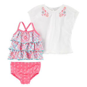 Carters Baby Girl Cover Up Tankini Set Swimwear